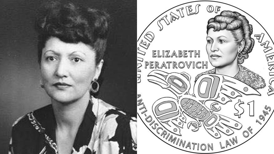 Elizabeth Peratrovich is seen in an undated photo from the Alaska State Archives. On the right an illustration of a 1 coin in her honor was released by the U.S. Mint in October 2019.