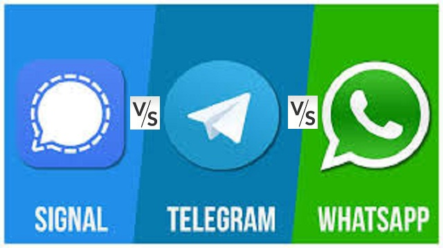 What is the security differences between Signal Telegram and WhatsApp messaging apps