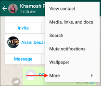 3 Tap More in WhatsApp