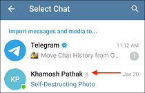 7 Select Contact from Telegram