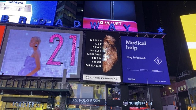 CELEBRITY ARTIST CHRIS FABREGAS SHUTS DOWN TIMES SQUARE WITH INSPIRATIONAL BILLBOARD